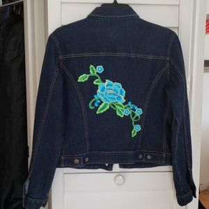 Gap dark denim jacket w/ blue flowers